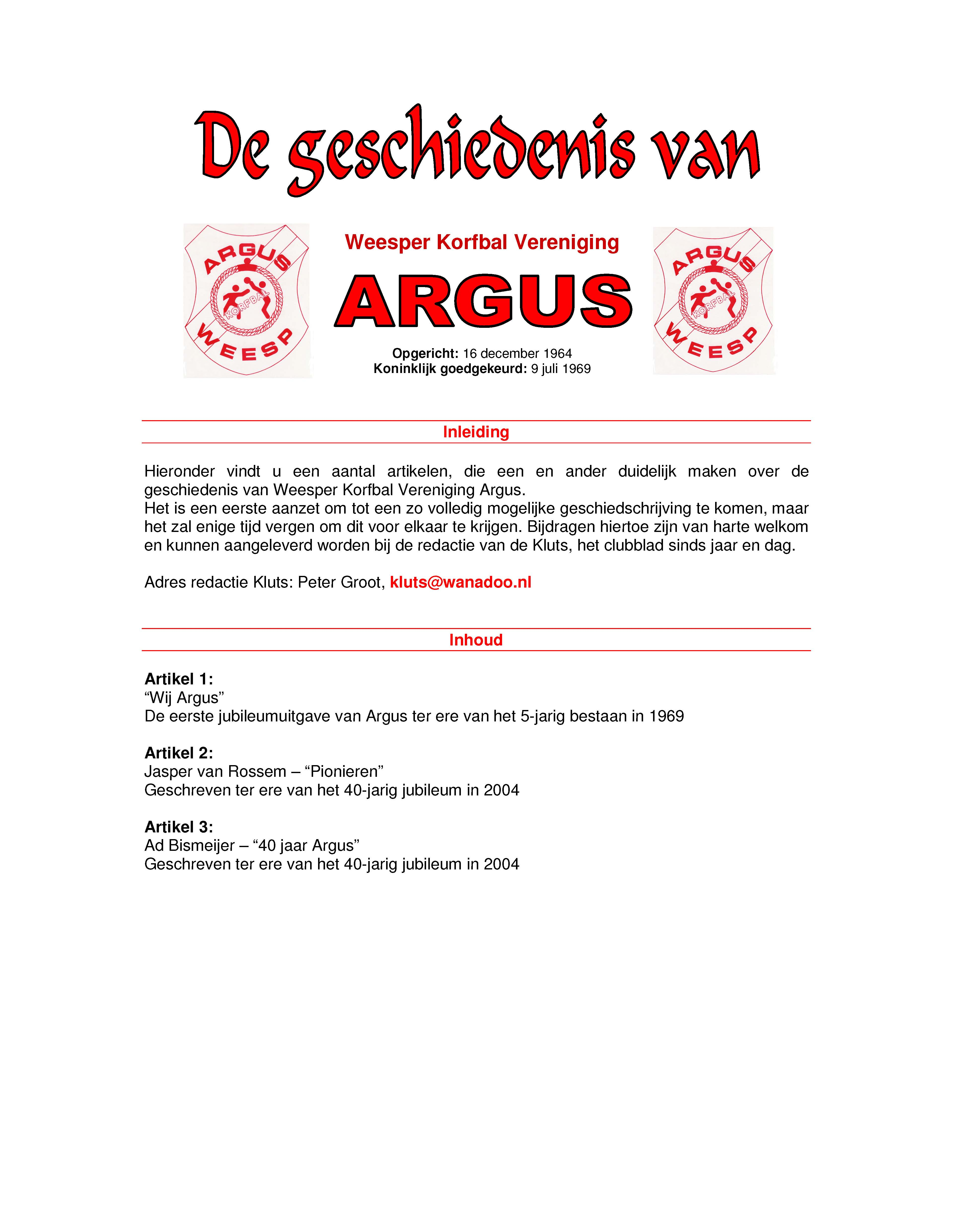 Geschiedenis Argus
